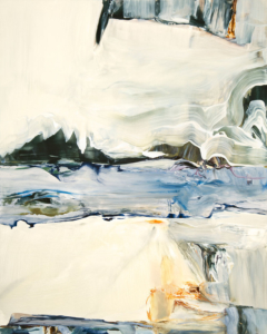 at the yukon far becomes near, acrylic on panel by susan douglass